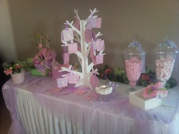 Τραπέζι ευχών με ποικιλία από καραμέλες και ζαχαρωτά